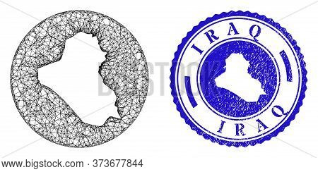 Mesh Inverted Round Iraq Map And Grunge Seal Stamp. Iraq Map Is A Hole In A Round Seal. Web Mesh Vec
