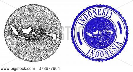 Mesh Subtracted Round Indonesia Map And Scratched Stamp. Indonesia Map Is A Hole In A Circle Seal. W