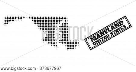 Halftone Map Of Maryland State, And Scratched Watermark. Halftone Map Of Maryland State Made With Sm