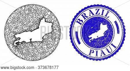 Mesh Hole Round Piaui State Map And Grunge Seal. Piaui State Map Is A Hole In A Circle Stamp Seal. W