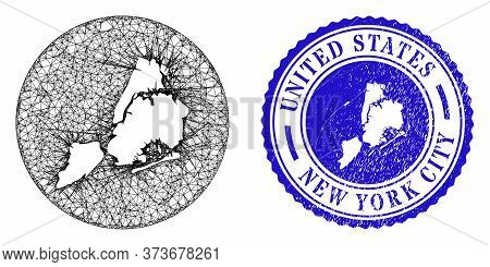 Mesh Subtracted Round New York City Map And Grunge Seal Stamp. New York City Map Is A Hole In A Roun