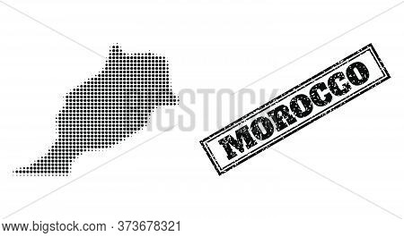 Halftone Map Of Morocco, And Rubber Watermark. Halftone Map Of Morocco Constructed With Small Black