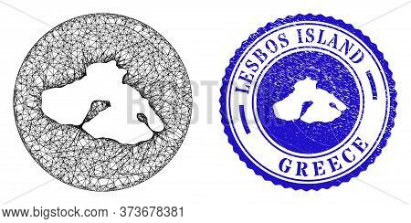 Mesh Hole Round Lesbos Island Map And Grunge Seal Stamp. Lesbos Island Map Is Inverted In A Round St