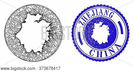 Mesh Hole Round Zhejiang Province Map And Grunge Stamp. Zhejiang Province Map Is A Hole In A Round S