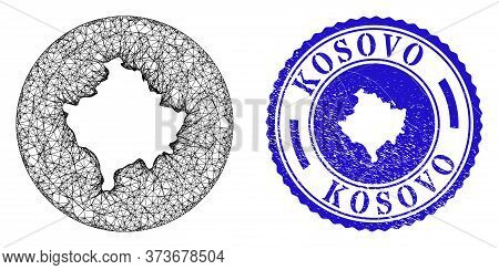 Mesh Stencil Round Kosovo Map And Grunge Seal Stamp. Kosovo Map Is A Hole In A Circle Stamp. Web Mes