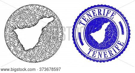 Mesh Hole Round Tenerife Map And Scratched Seal. Tenerife Map Is A Hole In A Round Stamp. Web Mesh V