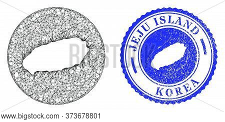 Mesh Inverted Round Jeju Island Map And Scratched Seal Stamp. Jeju Island Map Is Carved In A Round S