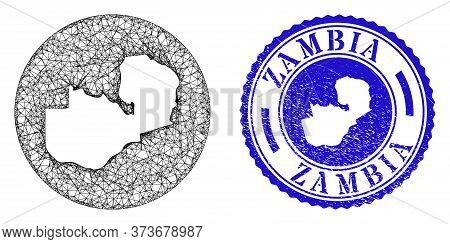 Mesh Inverted Round Zambia Map And Grunge Seal Stamp. Zambia Map Is Inverted In A Circle Seal. Web N