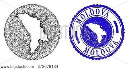 Mesh Subtracted Round Moldova Map And Scratched Stamp. Moldova Map Is Inverted In A Round Seal. Web