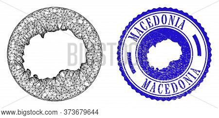 Mesh Hole Round Macedonia Map And Grunge Seal Stamp. Macedonia Map Is Carved In A Circle Seal. Web M