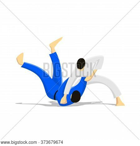 Judo, Two Men In Kimono Fighting. Combative Sport, Flat Design Cartoon Vector Illustration
