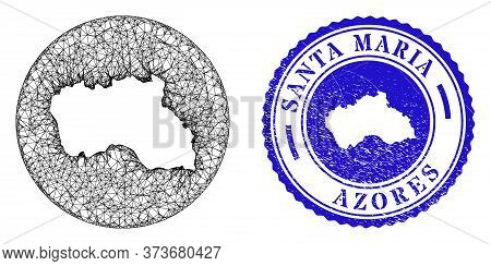 Mesh Subtracted Round Santa Maria Island Map And Grunge Stamp. Santa Maria Island Map Is Inverted In