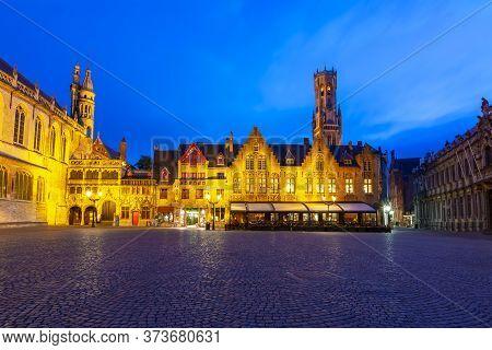 Burg Square At Night In Bruges, Belgium