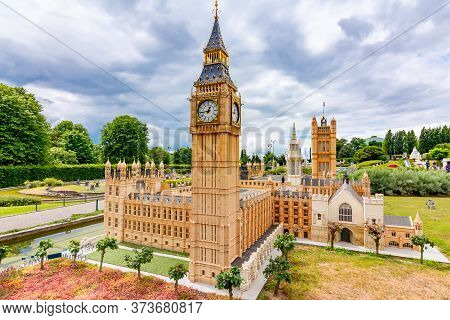 Brussels, Belgium - June 2019: Big Ben And Westminster Palace In Mini Europe Park