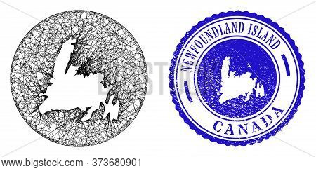Mesh Hole Round Newfoundland Island Map And Scratched Seal Stamp. Newfoundland Island Map Is A Hole