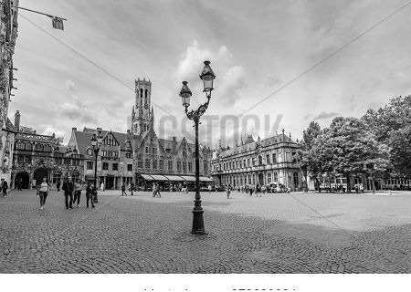 Bruges, Belgium - June 2019: Burg Square With Basilica Of The Holy Blood  And Belfort Tower At Backg