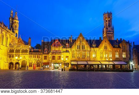Burg Square With Basilica Of The Holy Blood And Belfort Tower At Background At Night, Bruges, Belgiu