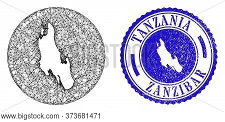 Mesh Subtracted Round Zanzibar Island Map And Grunge Seal Stamp. Zanzibar Island Map Is A Hole In A