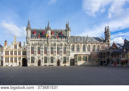 Town Hall And Basilica Of Holy Blood On Burg Square, Center Of Bruges, Belgium