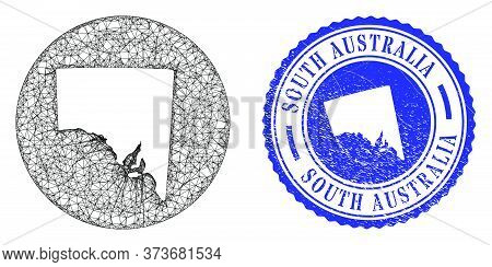 Mesh Inverted Round South Australia Map And Scratched Seal Stamp. South Australia Map Is A Hole In A