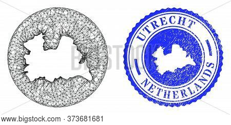 Mesh Inverted Round Utrecht Province Map And Grunge Stamp. Utrecht Province Map Is A Hole In A Round