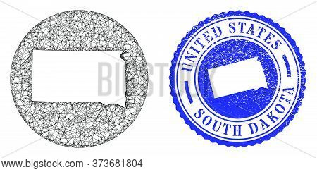 Mesh Hole Round South Dakota State Map And Grunge Stamp. South Dakota State Map Is Stencil In A Circ