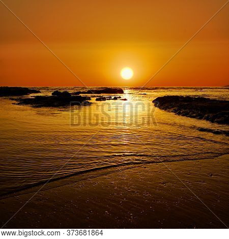 red sunset on the sea of Sicily natural landmark and tourism in summer