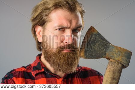 Bearded Man With Old Ax. Close Up Portrait Of Man With Ax. Canadian Lumberjack. Bearded Man With Old