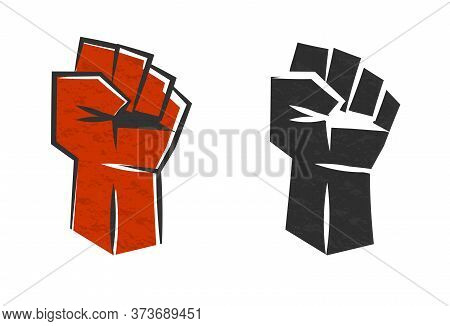 Red Clenched Fist Symbol Of Revolution. Red Vector Silhouette Raised Fist. Victory Logo For Rebel De