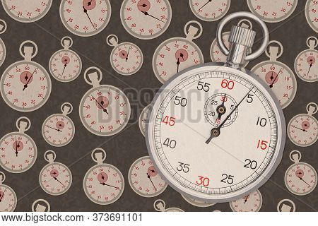 Silver And White Stopwatch Precision Time Piece On Distress Stopwatch Paper