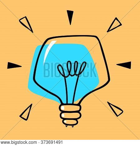Stylized Drawn Lightbulb Doodle Vector, Blue Bulb Isolated On An Orange Background