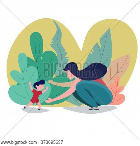 Happy Mother With A Child In The Blooming Garden. Mother's Day Concept. Flat Style. Motherhood Child