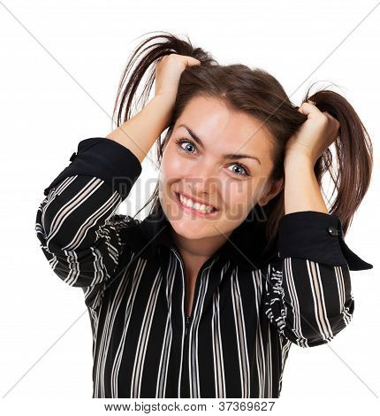 Angry Businesswoman Pulling Her Hair