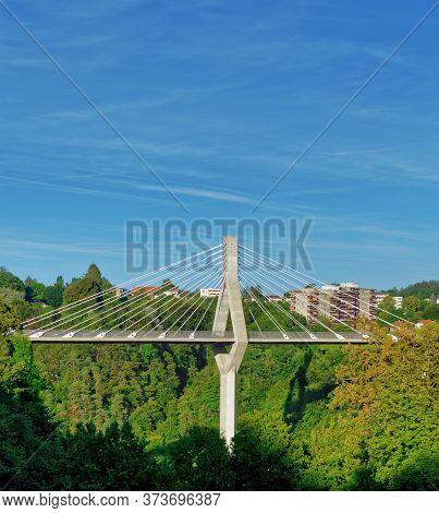 The Poya Bridge (pont De La Poya) In Fribourg (freiburg), Switzerland. With Copy Space For Text.