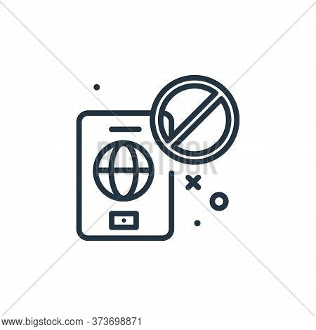 no travelling icon isolated on white background from virus restrictions collection. no travelling ic