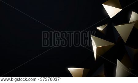 Abstract 3d Gold Chaotic Low Poly Shapes. Luxury Gold Flying Polygonal Pyramids Background. Vector I