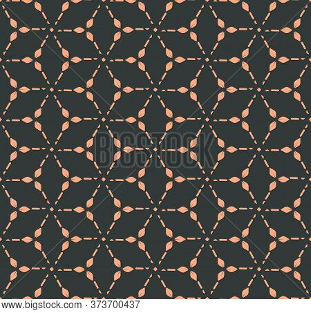 Dark Asian Graphic 1920 Lattice Texture. Continuous Wave Vector Circular Pattern Pattern. Repetitive