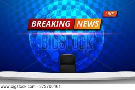White Table And Chair With Breaking News Live On Lcd Background In The News Studio Room