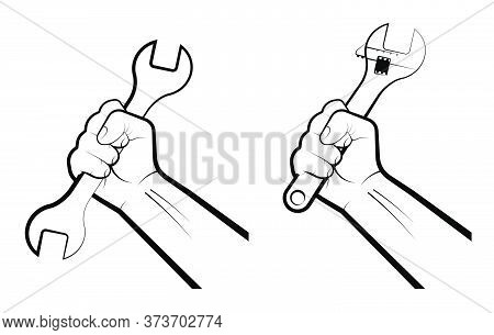 Mans Hand Clenches A Huge Wrench In A Fist. Hard Work, Working Professions. Labor Day. Isolated Vect