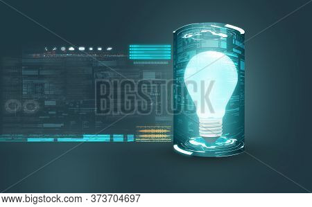 Lightbulb Start Up Idea Technology . Futuristic Background And Data . This Is A 3d Render Illustrati