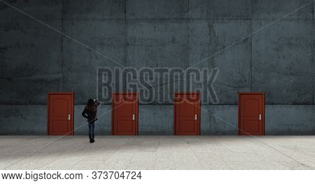 Multiple Doors  On A Wall .  Difficult Decision Concept .