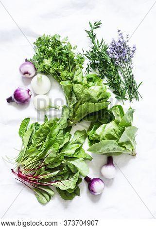 Fresh Garden Herbs On A White Background, Top View. Spinach, Coriander, Romaine Salad, Lavender, Red