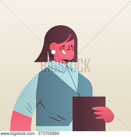 Happy Businesswoman Holding Folder Attractive Business Woman Office Worker In Casual Clothes Female