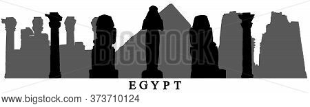 Landmarks Of Egypt, Silhouettes Of Statues, Pyramids, Columns, Ruins And Etc. Vector Illustration.