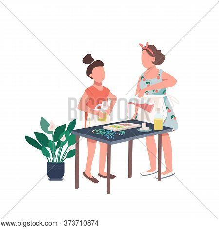 Family Soap Making Flat Color Vector Faceless Character. Mother And Daughter Make Diy Recipe. Worksh