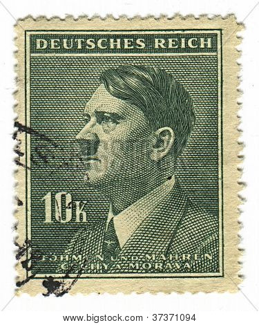 GERMANY - CIRCA 1937: A stamp printed in Germany shows image of Adolf Hitler an Austrian-born German politician and the leader of the Nazi Party, in green, circa 1937.