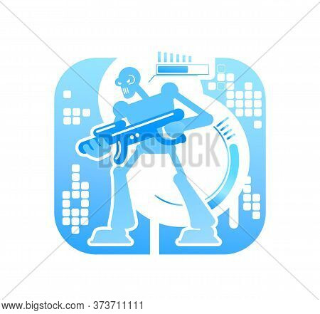 Video Game Robot Boss 2d Vector Web Banner, Poster. Futuristic Playable Action. Shooter Videogame Fl