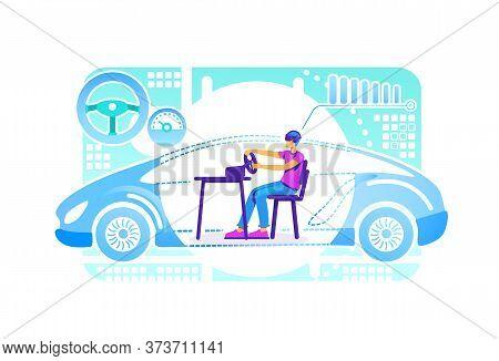 Vr Driving Simulator 2d Vector Web Banner, Poster. Gamer In Arcade Racing Car Flat Characters On Car