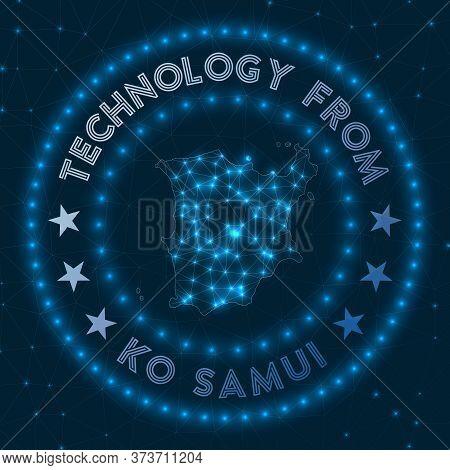 Technology From Ko Samui. Futuristic Geometric Badge Of The Island. Technological Concept. Round Ko