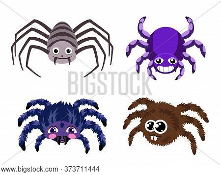 Spider Icons Set. Cartoon Set Of Spider Vector Icons For Web Design